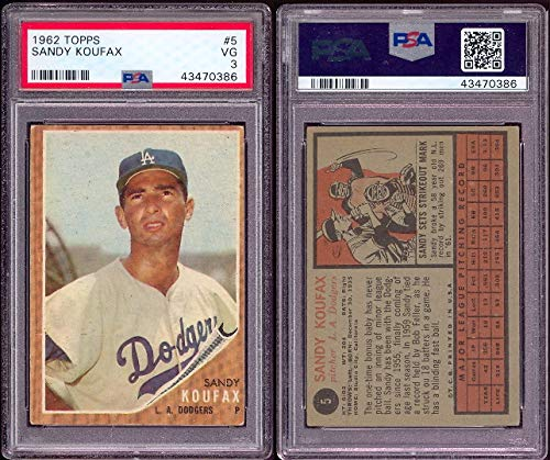 1962 Topps Regular (Baseball) card#5-psa Sandy Koufax (psa) of the Los Angeles Dodgers Grade Very Good ()
