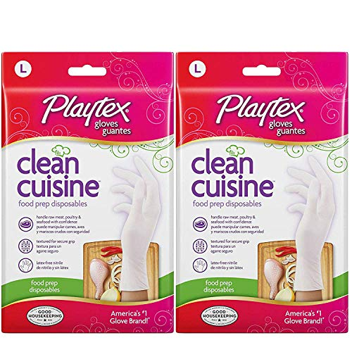 Playtex CleanCuisine Disposable Gloves Large - 2 Packs of 30 Count = 60 Count ()