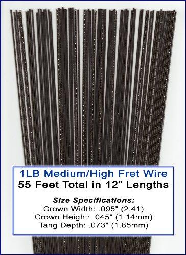 1 Pound Bulk Medium/High Nickel-Silver Fret Wire for Guitar, Cigar Box Guitar & More!