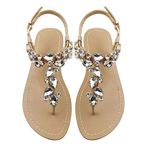 Mayou Women's Rhinestone Flat Sandals, Women Flip Flops with Beadeed Rhinestone Crystal Jeweled Sandal Shoes for Summer Beach Oceanside Holiday Outdoor (6 M US, Off-White) -