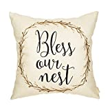 #8: Fahrendom Rustic Bless Our Nest Vine Wreath Vintage Country Style Retro Farmhouse Quote Gift Cotton Linen Home Decorative Throw Pillow Case Cushion Cover with Words for Sofa Couch 18 x 18 Inch