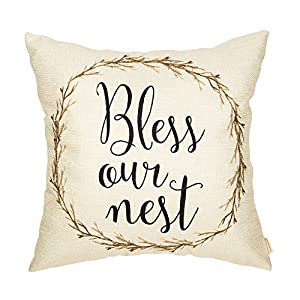 Fahrendom Rustic Bless Our Nest Vintage Watercolor Floral Wreath Country Style Retro Farmhouse Quote Cotton Linen Home Decorative Throw Pillow Case Cushion Cover with Words for Sofa Couch 18 x 18 Inch 87