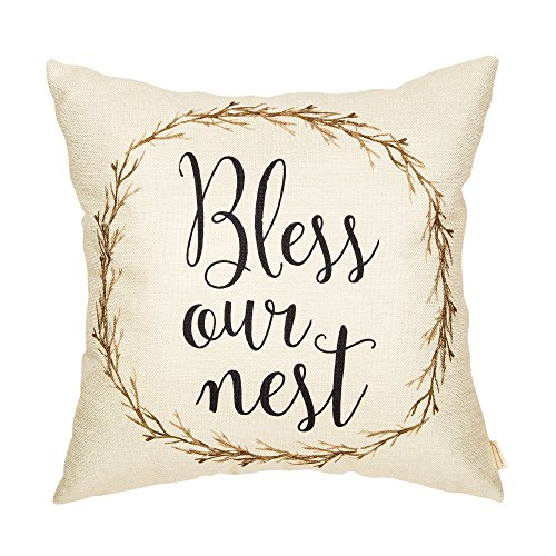 Fahrendom Rustic Spring Summer Décor Bless Our Nest Vine Wreath Vintage Country Style Retro Farmhouse Decoration Cotton Linen Home Decorative Throw Pillow Case Cushion Cover for Sofa Couch 18 x 18 in (Country Couch)