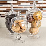 Appjar Clear Kitchen Candy Cookie Storage Apothecary Containers Jars Holders, Set of 3