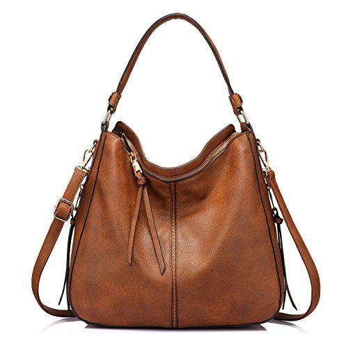 Handbags for Women Large Designer Ladies Hobo bag Bucket Purse Faux Leather, Light Brown, Medium