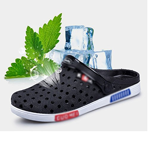 5 Couple eu40 Sandals MAZHONG Hole Summer Men's CN43 Color And Shoes Black Outdoor Beach Shoes UK8 Cn41 Black Slippers EU42 Uk7 5wwZqAUx
