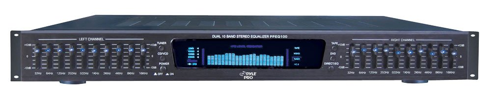 Pyle-Pro PPEQ100 19-Inch Rack Mount Dual 10 Band 4 Source Input Stereo Spectrum Graphic Equalizer Sound Around RBPPEQ100