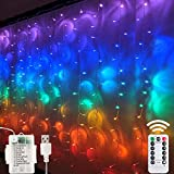 Window Curtain String Lights- 3M(H)*1.5M(W) USB Or Battery Operated 8 Modes with Remote & Timer Fairy Lights 200LED Indoor Outdoor Lights for Wedding Party Home Bedroom Wall,Multicol