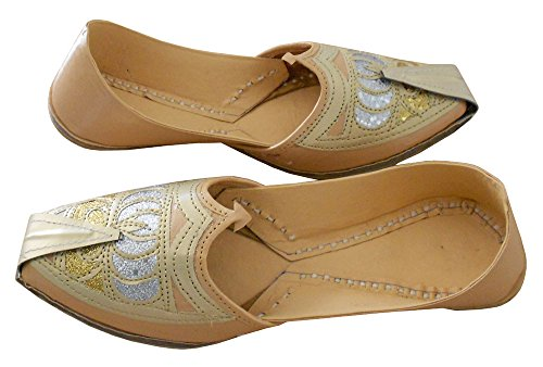 KALRA Creations Herren Schuhe Traditionell indische Slipper Leder Cremefarben