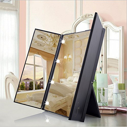 Tri-Fold Led Mirror Make-UP,Compacet Travel Cosmetic Mirr...