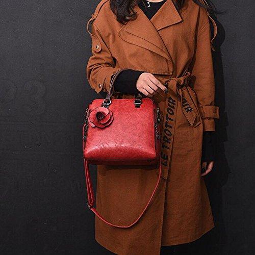 Work Bag Bag Ladies Multifunctional Fashion Retro Messenger Bag Tote Red Casual Shoulder pqBzwpH