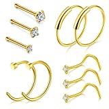 D.Bella Clip On Nose Rings, 22G Nose Pin Studs