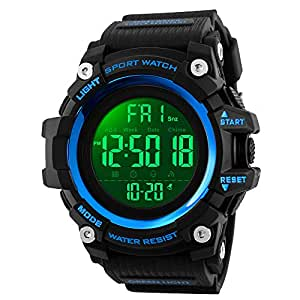SKMEI Digital Watch for Men, Waterproof Military Watch with LED Backlight Chronograph Alarm, Black Big Face Sports Wrist Watch for Men Boys (Blue)