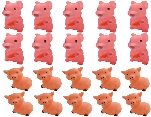 Viskey Pink Pigs & Hamsters 10Pcs+10Pcs Baby Bath Tub Bat...