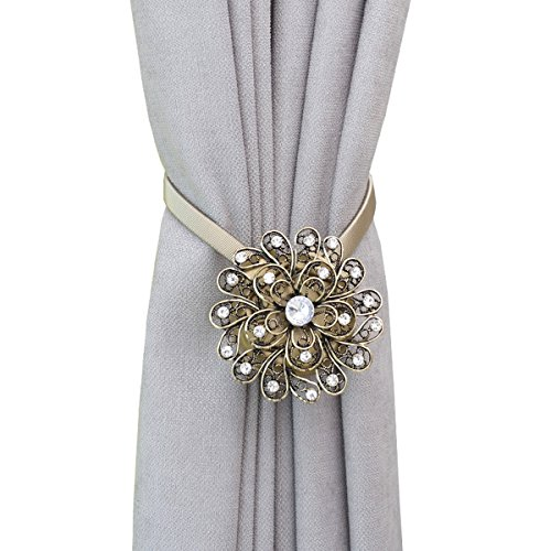 HCY 1 Pair Magnetic Curtain Tiebacks Crystal Flower Curtain Buckle Home Decor Stretchy Rope Drapery Holder (Bronze)