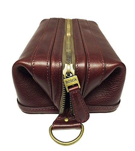 Bosca Correspondent 10'' Leather Zipper Framed Travel Toiletry Kit (Chianti) by Bosca