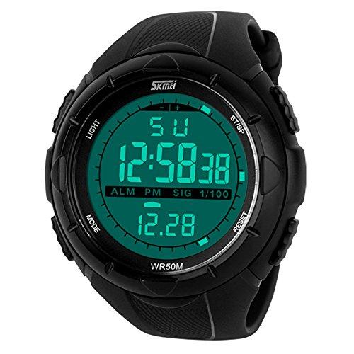 Armbanduhr Sportuhr Uhren von CIVO Herren Multifunktions -Militärwasserdichte Tasche LED Digital Beiläufiges Geschäfts- Digitale Uhr- Armbanduhren -Schwarz