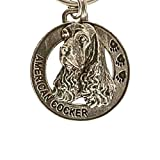 Creative Pewter Designs, Pewter American Cocker Key Chain, Antiqued Finish, DK008