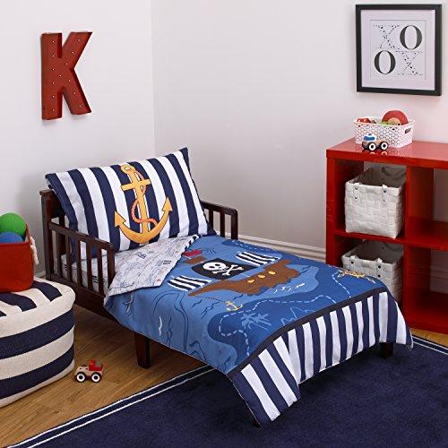 Little Tikes 4 Piece Pirates Toddler Bedding Set, Blue/Red/Black, 52