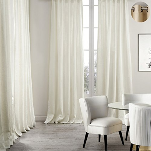 - ChadMade Premium Double Layers Antique Bronze Grommet Eyelet Linen Cotton Natural Curtain Drapery (1 Panel) In 50Wx96L inch