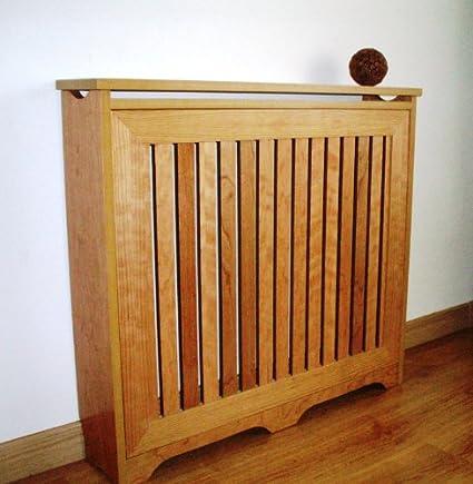 Mueble decorativo cubre radiador, Chapa Natural de Cerezo, 120x83x18cm, fácil montaje en KIT