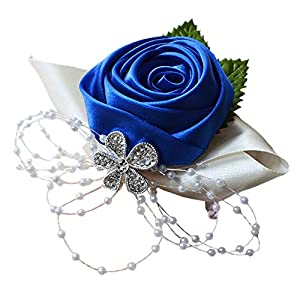 Arlai 1 pcs Wedding Bridesmaid Bride Wrist Corsage Decoration Hand Flower, Dark Blue 14