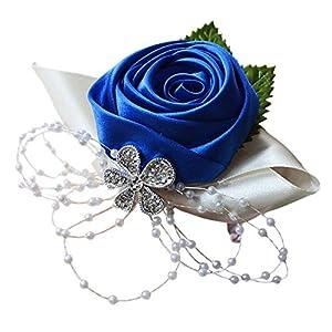 Arlai 1 pcs Wedding Bridesmaid Bride Wrist Corsage Decoration Hand Flower, Dark Blue 3