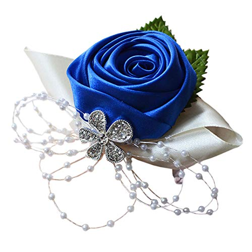 Arlai 1 pcs Wedding Bridesmaid Bride Wrist Corsage Decoration Hand Flower, Dark Blue