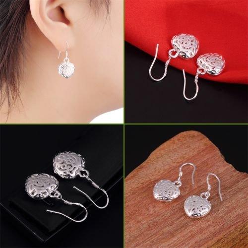 Alicenter(TM) Women 925 Sterling Silver Mini Hollow Heart Dangle Hook Earrings Jewelry