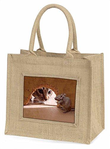 Advanta Katze und Maus Große Einkaufstasche/Weihnachten Geschenk, Jute, beige/natur, 42x 34,5x 2cm