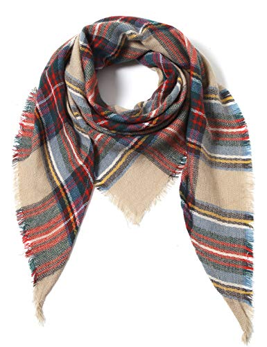 Plaid Scarf - Cindy & Wendy Lightweight Triangle Floral Fashion Lace Fringe Scarf Wrap for Women (Khaki/Red/Forest Plaid)