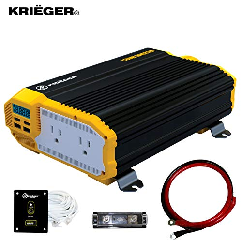 KRI GER 1100 Watt 12V Power Inverter Dual 110V AC Outlets, Installation Kit Included, Automotive Back Up Power Supply For Blenders, Vacuums, Power Tools MET Approved According to UL and CSA.