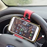 Car Cell Phone Holder, Rienar Universal Car Steering Wheel Smartphone Mount Clip Buckle Socket for iPhone X 8 8 Plus 7 7 Plus SE 6s 6 Plus 6 Galaxy S8 S7 S6 and More