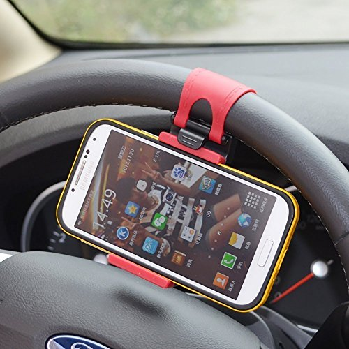 Rienar Mobile Phone Holder Mount Clip Buckle Socket Hands Free on Car Steering Wheel for iPhone 5/5G/ 4/4S,HTC, Samsung Galaxy, PDA and Smart Cellphones
