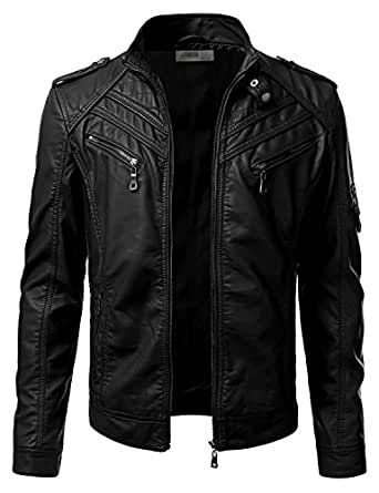 IDARBI Mens Stand Collar Zip Up Faux Leather Jacket at ...