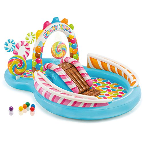 Above Ground Swimming Pool For Kids Great For Toddlers & Children Small Kiddie Blow Up For Outdoor Water Fun With Toys, Floats and Slide Candy Inflatable Play Center With Slide Easy Emptying 116x75x51 ()