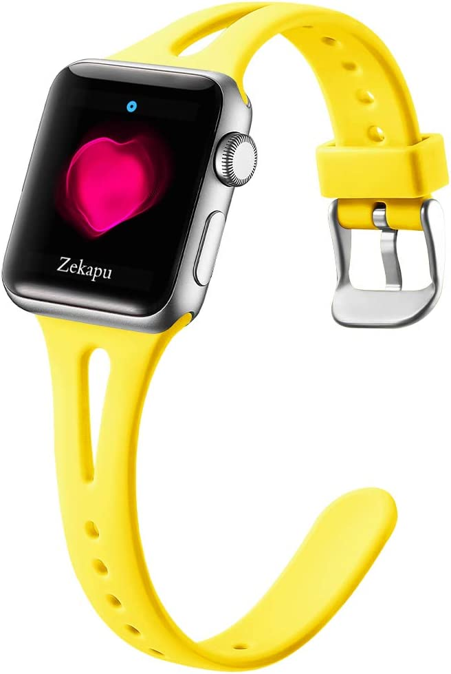 LEOMARON Slim Band Compatible with Apple Watch 38mm 40mm for Women, Breathable Soft Silicone Thin Wristband for iWatch Series 6/SE 5 4 3 2 1, S/M Mango Yellow