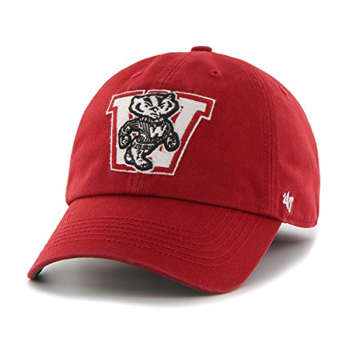 NCAA Wisconsin Badgers '47 Brand Franchise Fitted Hat, Red, (Badger Hat)