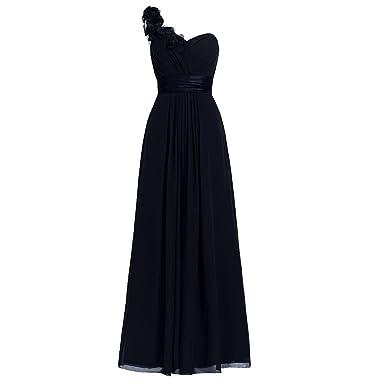 2554300ca7f H.S.D Women s Simple Floral One Shoulder Long Bridesmaid Dresses Prom Gowns  Black
