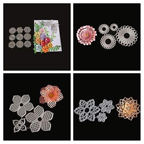 Meslio 4pcs Flower Combination Cutting Dies Metal Scrapbooking Stencils Die for DIY Embossing Photo Album Decorative DIY Paper Cards Making Gifts