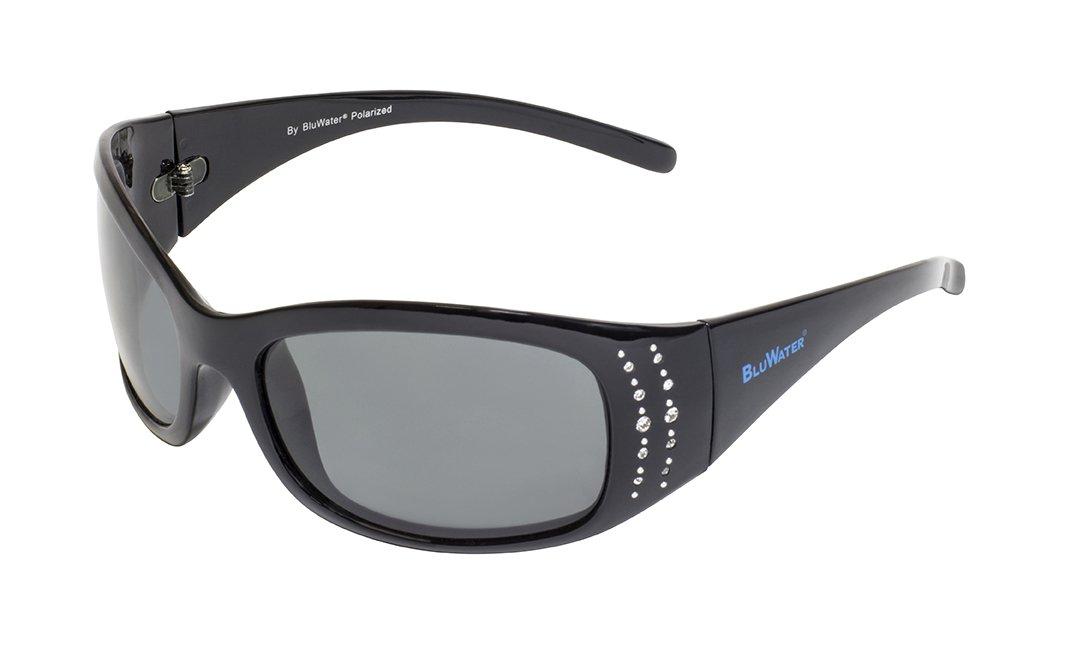 BluWater Biscayene SM Polarized Biscayene Sunglasses with Rhinestone Stud Design, Gray Lens, Gloss Black Frame, Small