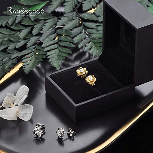 White Gold Plated Sterling Silver Rose Flower Ear Studs, Hypoallergenic & Nickel Free Earrings for Women