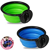 SLSON 2 Pack Dog Crate Bowls Collapsible Hanging Bowls with Clamp BPA Free Silicone Feeder Dish for Dogs Cats Reptiles Cage Water Food Feeding (Blue and Green)