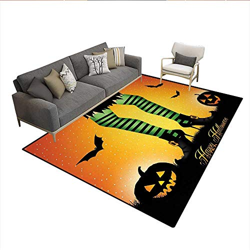 - Carpet,Cartoon Witch Legs with Striped Leggings Western Concept Bats and Pumpkins Print,Customize Rug Pad,MulticolorSize:6'x7'