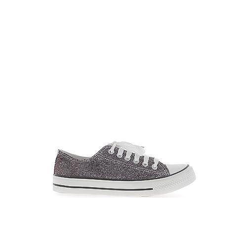 Mujeres Delgadas Borgoña de Lona y Suela Zapatillas Blancas: Amazon.es: Zapatos y complementos