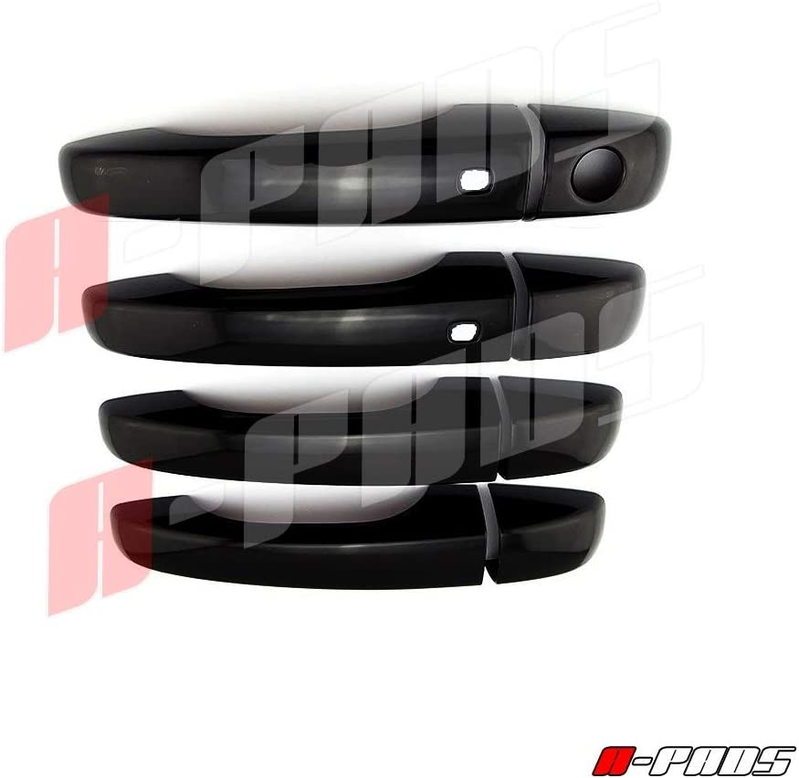 A-PADS Compatible with Dodge Journey 2013 14 2015 15 Black Color 4 Door Handle Cover W//Smart KH