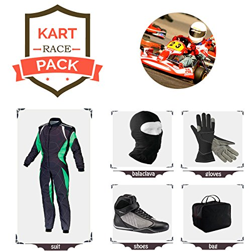 Sports Blue Go Kart Racing Suit Suit,Gloves,Balaclava and Shoes Free Bag - Black with Green White Style ()