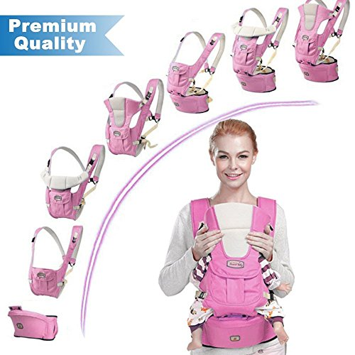 Baby Carrier Backpack, URVOGUE Breathable Baby Hip Seat Carrier 6 Carry Ways with Detachable Seat and Head Support and Structured Bucket for Baby (pink)