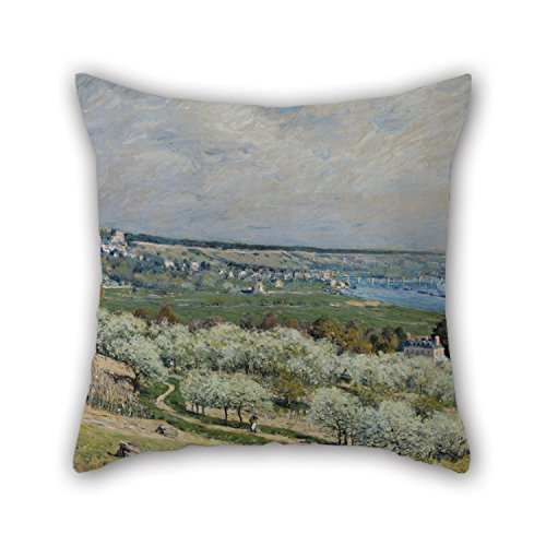 [Artistdecor Oil Painting Alfred Sisley - The Terrace At Saint-Germain, Spring Pillow Shams 16 X 16 Inches / 40 By 40 Cm Gift Or Decor For Coffee House,teens Boys,deck Chair,him,bench,gf - Each] (The Pope Costume At The White House)