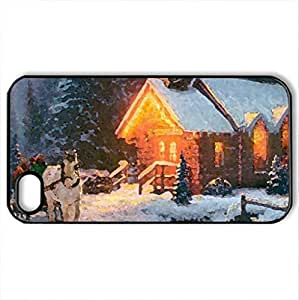 The Christmas Chapel - Case Cover for iPhone 4 and 4s (Religious Series, Watercolor style, Black)